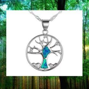Faux Blue Fire Opal Silver Tree Pendant Necklace